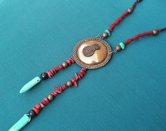 The Talisman - necklace long Jasper and turquoise