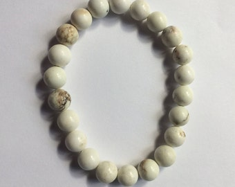 Gemstone Howlite Bracelet/ Reiki Crystal Healing Jewelry