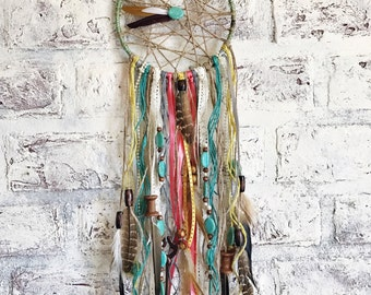 Hippie Chic Rustic - Dream Catcher - Bohemian Decor - Custom Dream Catcher - Coral - Teal - Yellow