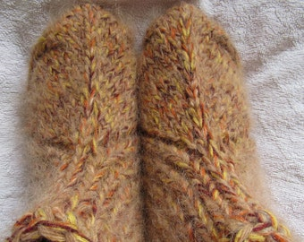 Hand knit socks,brown-yellow hand knit slippers,UK size UK 4-11,US 15-12,eu 35-47 . Kozizake.