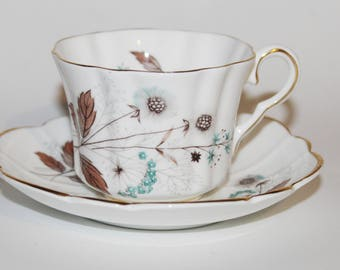 Lovely Grosvenor Bone China Teacup & Saucer Aqua Floweretts and Tan Leaves Ribbed Cup and Petal Shaped Saucer with Acorns Very Nice