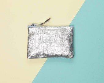 Silver Leather Coin Purse // Metallic Leather Pouch // Small Leather Bag // Custom Monogram // Change Purse // Zipper Coin Purse