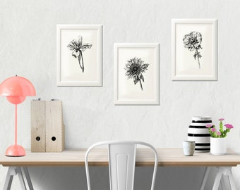 Flowers printables - Black and white botanical art print, Flowers sketching, Printable art, Wall decor, Hostess gift
