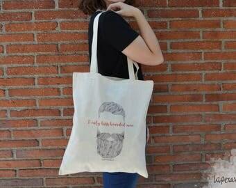 I only kiss bearded men, tote bag beard, beard men tote bag, illustration tote bag, I like his beard, cotton tote bag,