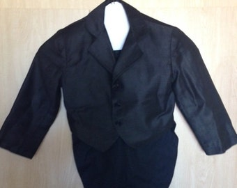 Boy's Ring Bearer Wedding Jacket w/ Tails -- for 4 to 5 Year Old - Worn by Seller's Husband - Mid-Century - Top Condition