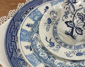 Mismatched Blue Transferware Place Setting ~ Churchill Willow, JG Meakin Nordic, Johnson Bros. Indies Coaching Scenes Hunting Country