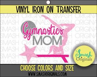 Gymnastics Mom Vinyl Iron On Transfer, Gymnastics Mom Iron on Decal for Shirt