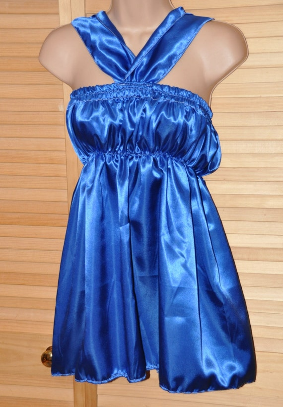 Royal Blue pretty little sissy dress with halterneck, matching bloomers - Sissy Lingerie