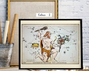 Hercules and Corona Borealis, Urania's Mirror, Antique World Map, Celestial Star Charts, Zodiac Constellation Signs, Night Star Sky