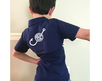 Personalized kids fishing shirt - Monogram kids fishing shirt - youth fishing shirt - monogram cover up