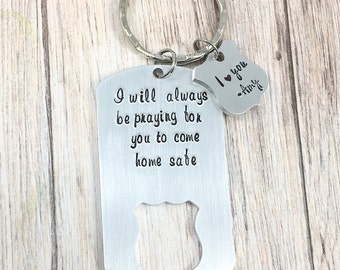 Police Badge Keychain, Always Praying For You To Come Home Safe, Police Officer Gifts, Hand Stamped Keyring, Police Husband, Boyfriend, LEO