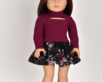 CutOut Chest Long sleeve top 18 inch doll clothes Color Burgundy