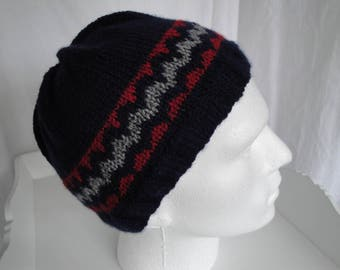 mans navy beanie, navy red grey hat, light navy mans cap, patterned watch cap, teenage to adult hat, fair-isle knit cap, blue red gray hat