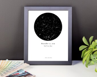 Star Crossed Framed Commemorative Poster with Custom Date and Text: Great boyfriend, girlfriend, or wedding gift