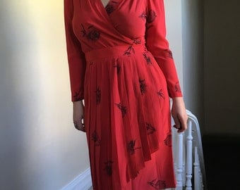 Blood Red Vintage Silk Wrap Dress w/ Black Roses by Norah Noh