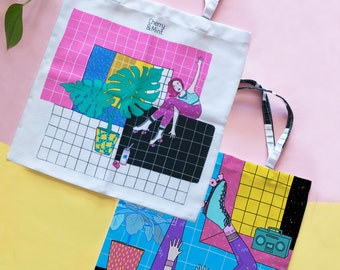 Full Color Tote bags with retro style designs