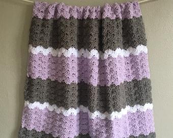 Lavender and Gray Crochet Baby Blanket . Purple White . Nursery Stroller Throw . 30x30 . Shower Gift