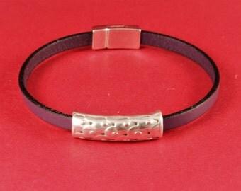 3/7 MADE in EUROPE 2 zamak tube sliders, 5mm cord slider tube, flat 5mm cord slider bead, silver slider tube (9388-0077) Qty2