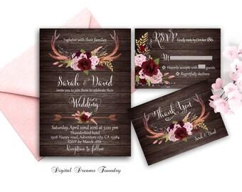 Marsala Wedding Invitation Printable Boho Wedding Invitation with Antlers Rustic Wedding Set Floral Wedding Blush Pink Rose Wedding