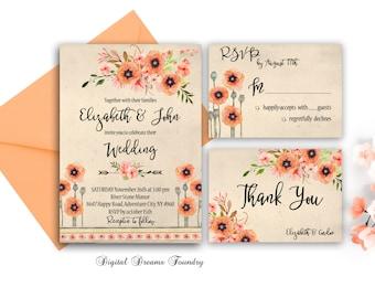 Rustic Fall Wedding Invitation Printable Floral Wedding Invitation Boho Wedding Invitation Suite Autumn Romantic Wedding Invitations