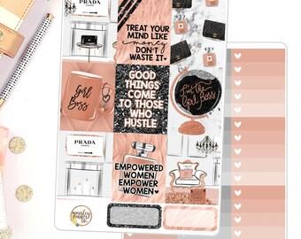 Hustle Weekly Kit for use in Erin Condren Weekly Planner Stickers Kit GirlBoss Hustle Empowerment