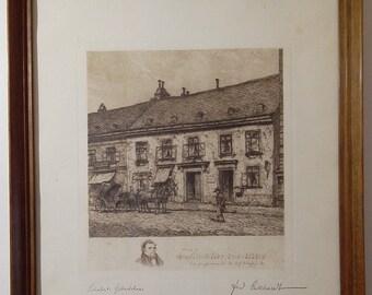 Original Vintage 1920 Ferdinand Eckhardt Framed Etching of the Franz Schubert Native House, Austria. Landscape.