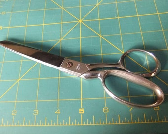 Vintage Chrome Plated Dressmaker Scissors, Made in Italy