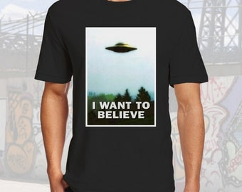 I want to Believe Xs-4XL Files Tshirt Black Cotton Crew Neck