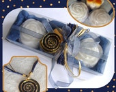 Denim Blue Beauty Gift Set for Women, Gift for Mother, Handmade flower Glycerin Scented Soaps, Gold Blue Enameled Handmade Jewelry Necklace