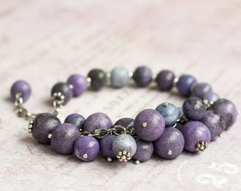 Purple beaded bracelet, Purple bracelet, Violet bracelet, Purple charm bracelet, Purple bead bracelet, Chunky bead bracelet, Chunky bracelet