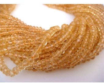 50 Strands Wholesale 4mm Citrine Faceted Rondelles Beads, 13.5 Inch Strand, WS044