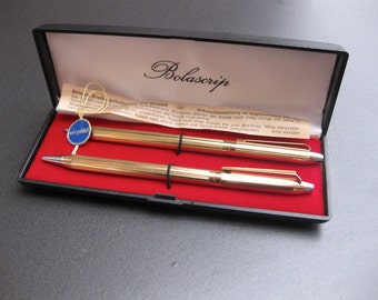 noble vintage writing set, pen and pencil, mark Bolascrip, 1960s, writing set, original box,