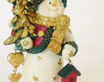 Snowman holding Christmas Tree and hearts Xmas decoration C