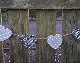 SALE - Heart Bunting, Peony & Polka Dot Wooden Heart Garland/Bunting, Decoupaged Heart Bunting, Vintage Style, Shabby Chic