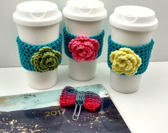 Blue Crochet Cup Cozy: Coffee/Tea Sleeve with flower (Pink,Green, or Yellow)    [048]