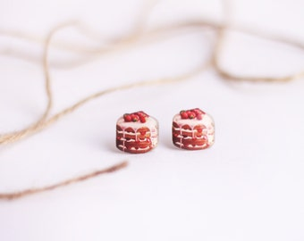 Cake earrings , Strawberry cake studs , Food studs , Yummy studs , Cakes lover gift , Pastry lover studs , Cake jewelry , Gift for her