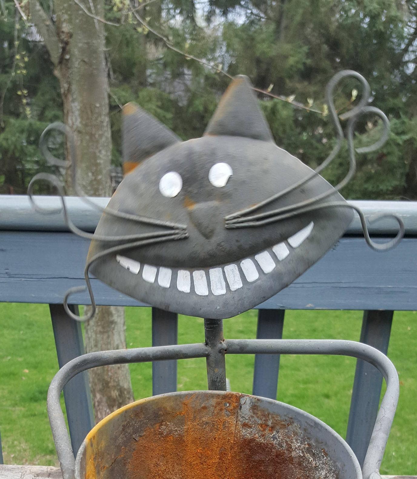 Vintage Cat Kitten Animal Planting Pot Garden Decor Metal Art