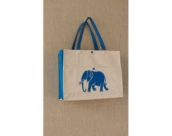 Blue Elephant, Free Shipping, Cotton Canvas, Reusable Bag, Eco Friendly Bag, Book Bag