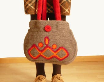women hand bag, felted in  brown and red with Ornaments, design case, purse, bag, shoulder bag
