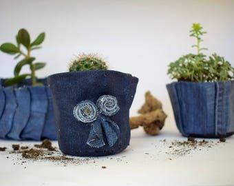 Conical blue denim planter for succulents or cacti ,recycled jeans flower pot,paverpol art,blue flower pot,denim decoration