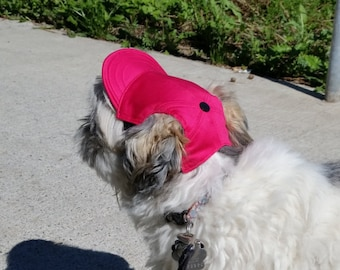 Deep Pink Dog Hat. Comfortable Fit. Milena Cotton Fabric. Custom Dog Clothing- Please Send ABCD Measures With Your Order.