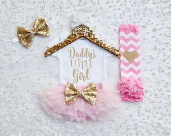 Daddy's Little Girl Father's  Day Outfit, Baby Girl Take Home Outfit, Newborn Outfit, Coming Home Outfit. Baby Bloomer, Leg Warmer, Headband