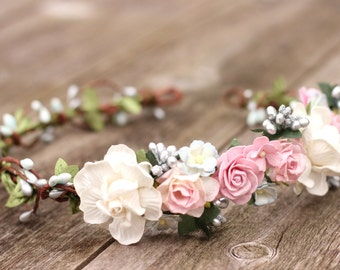 Dusty Pink Rose Blush White and Silver Flower Crown -  Bridal Hair Crown -  Greenery Hair Wreath - Wedding Flower Hair Wreath - Flower Girl