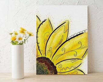 Baby Nursery Flower Art, Sunflower Canvas Print, Sunflower Print Wall Art, Easel Sunflower Picture, Baby Room Flower Print