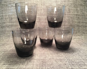 Handmade Smoked Glass Double Old Fashioned Set of Six
