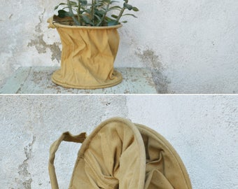 Sturdy Canvas Bucket, Vintage Military Bucket, Collapsible Pail, Cloth Hanging Planter, Army Shower Pail, Natural Cloth Sack with Handle