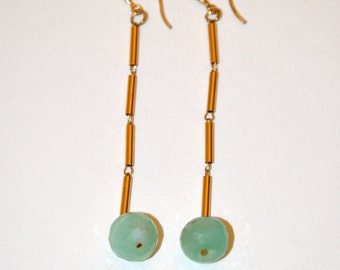 Long earrings vintage green Jade