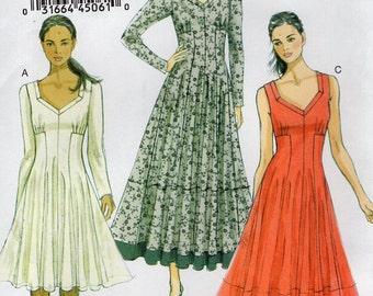 Vogue 8920 Free Us Ship Sewing Pattern Flared Dress High Waist Size Size Xs M l xl xxl  4/14 16/26 Bust 29 30 31 32 34 36 38 40 42 44 46 48
