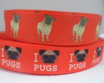 Pug Ribbon, Pug Ribbon,Dog ribbon, Puppy Ribbons, 7/8  inch Grosgrain ribbon, perfect for hairbows, scrapbooking and More