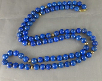 Gold Lapis Beaded Necklace, Vintage 14K Gold Lapis Lazuli Beaded Necklace